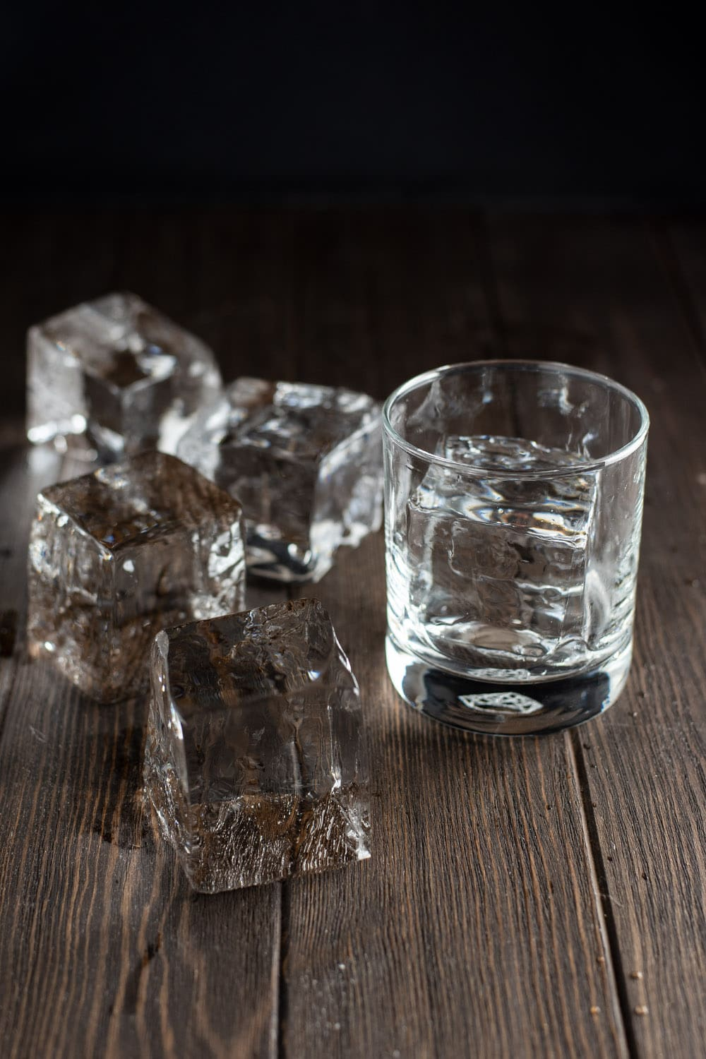 Clear ice in cocktail glass
