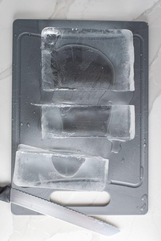 Cut block of ice