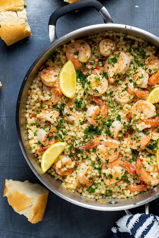 Shrimp Scampi Recipe Over Israeli Couscous