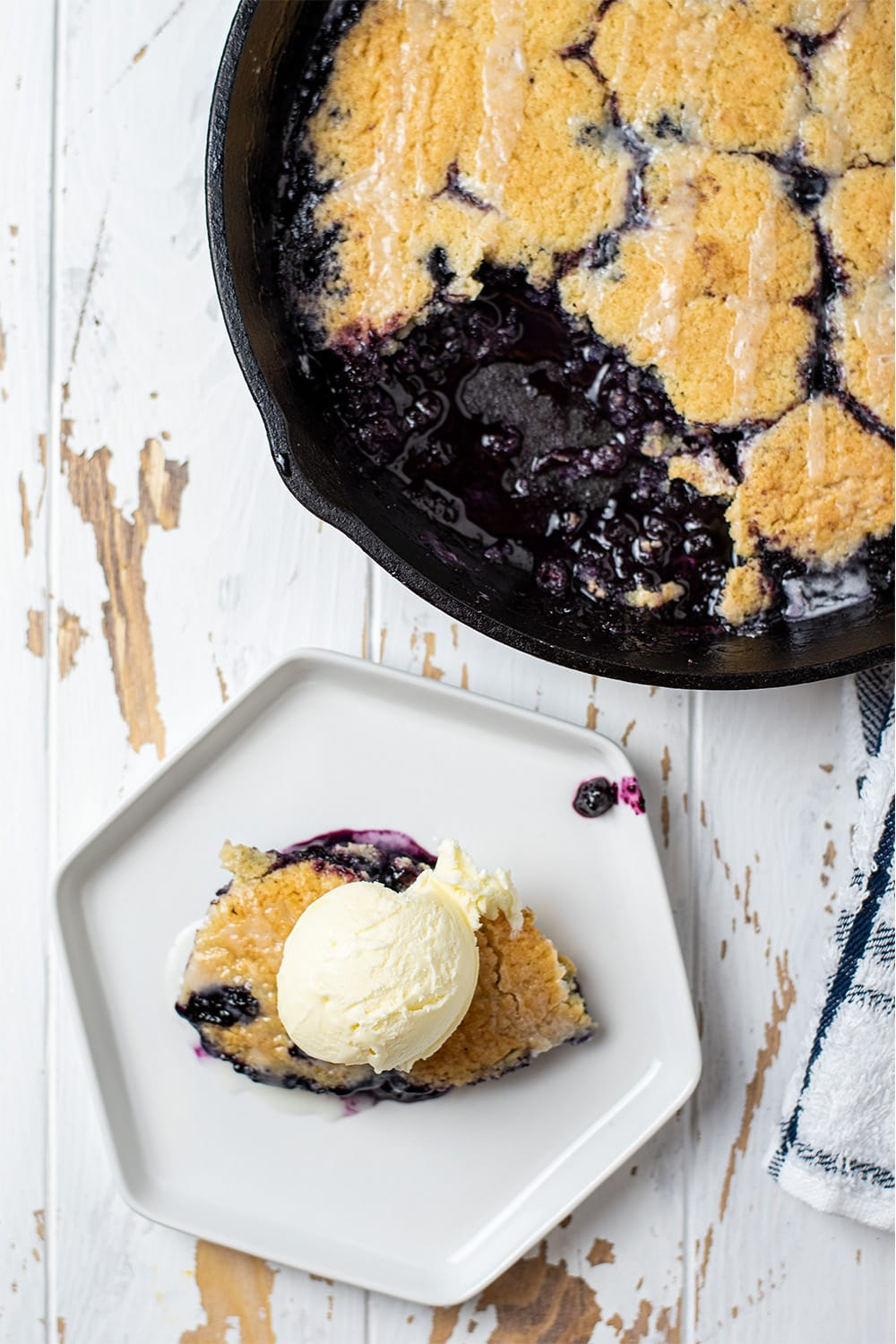 Skillet Blueberry Cobbler Recipe With Almond Frosting