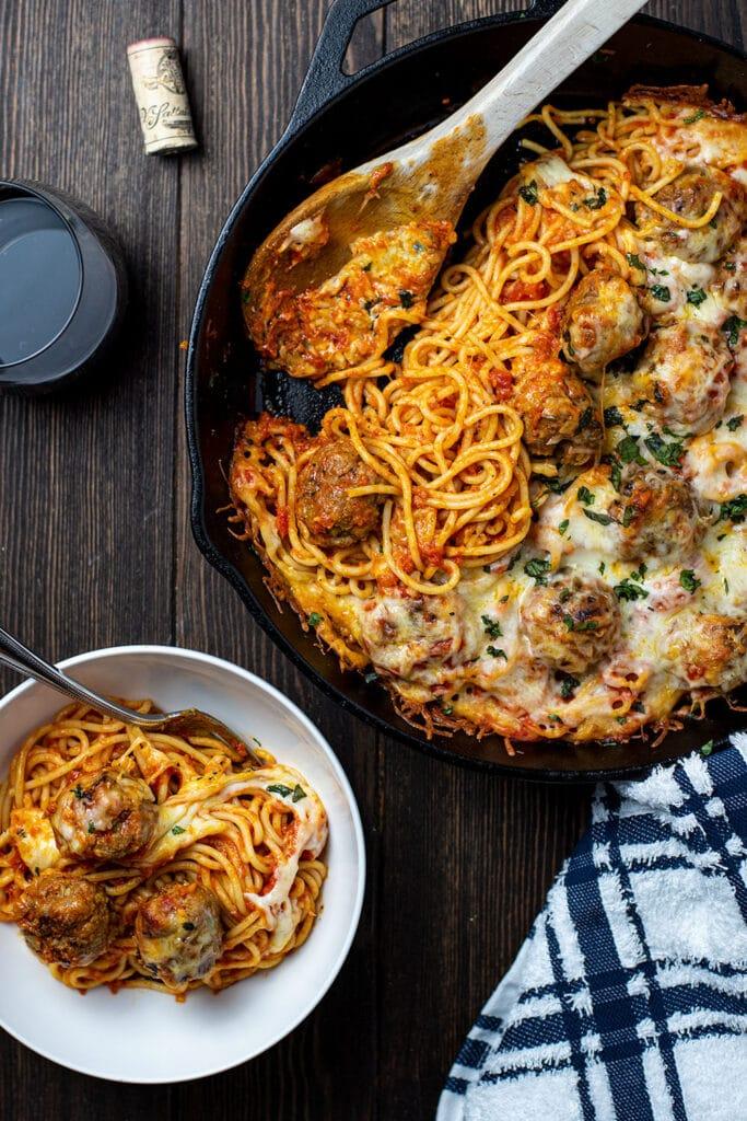 Cheesy Baked Spaghetti And Meatballs Recipe