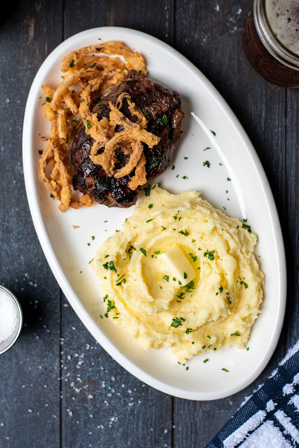 Garlic Butter Steak with Fried Onion Strings and Mashed Potatoes Recipe